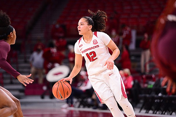 Arkansas guard Destiny Slocum (12) is shown during a game against Mississippi State on Thursday, Feb. 11, 2021, in Fayetteville.