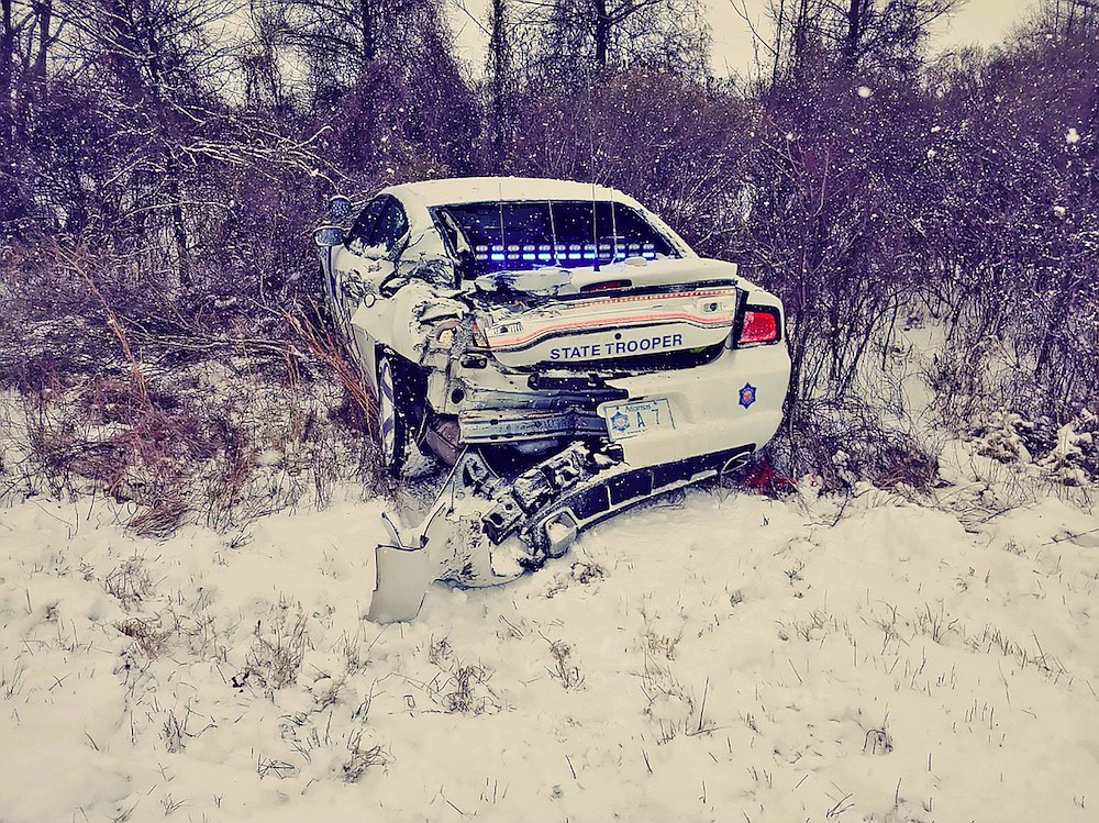 An Arkansas State Police vehicle is shown after a crash on I-40 Wednesday. Photo courtesy of state police