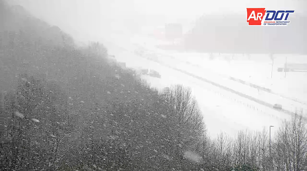 Interstate 40 near Lonoke on Wednesday morning is shown in this screen grab of video provided by the Arkansas Department of Transportation.