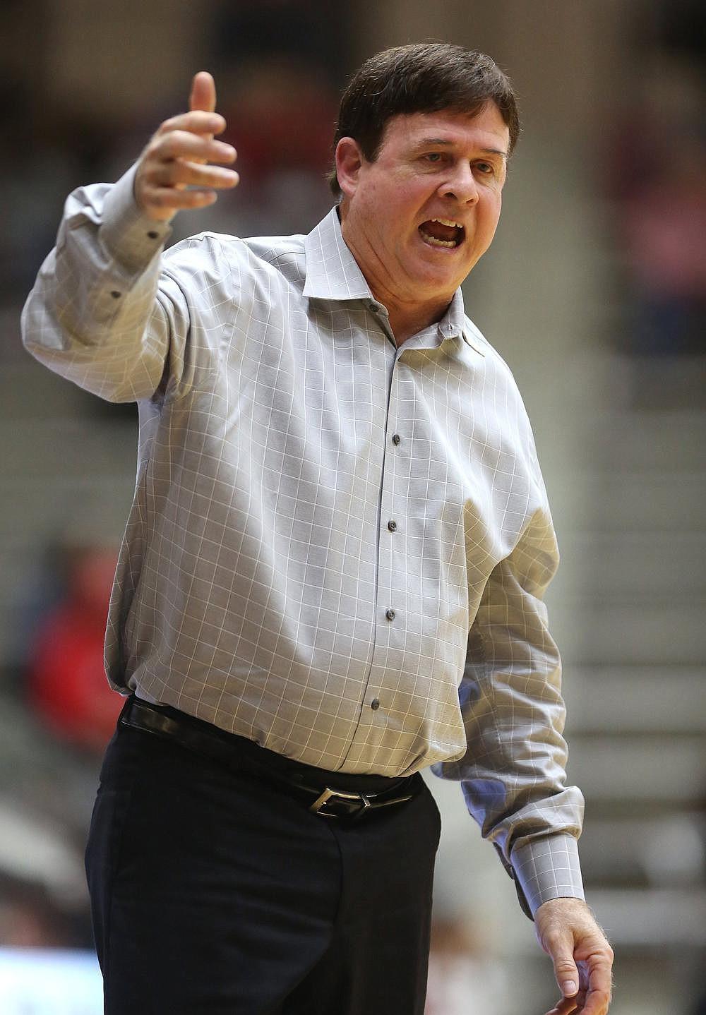 UALR head coach Joe Foley calls a play during the third quarter of the Trojans' 68-55 win on Saturday, Feb. 2, 2019, at the Jack Stephens Center in Little Rock.  (Arkansas Democrat-Gazette/THOMAS METTHE)