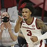 Arkansas guard Desi Sills (3) reacts, Saturday, January 9, 2021 during the second half of a basketball game at Bud Walton Arena in Fayetteville. Check out nwaonline.com/210110Daily/ for today's photo gallery.  (NWA Democrat-Gazette/Charlie Kaijo)