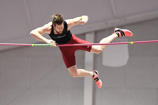 Former Arkansas pole vaulter Andrew Irwin competes at the American League Track meet on Sunday, Feb. 21, 2021, at the Randal Tyson Center in Fayetteville.