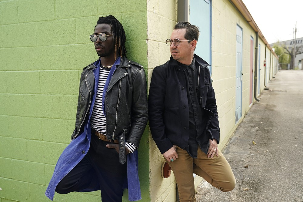 """Adrian Quesada (right) and Eric Burton are Black Pumas. Their deluxe debut album is nominated for album of the year at the 2021 Grammy Awards and their single """"Colors"""" is nominated for record of the year and best American roots performance. (AP/Eric Gay)"""