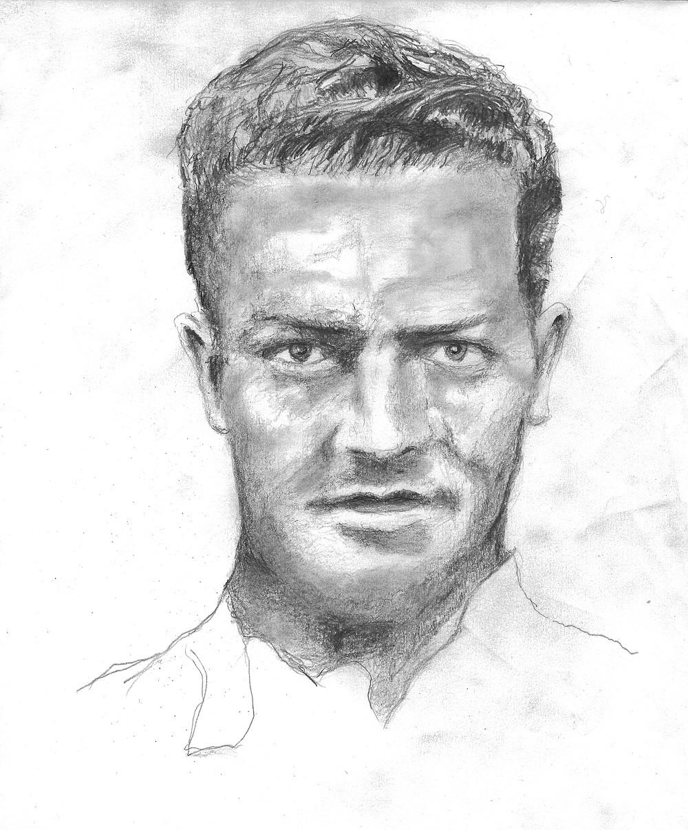 """Wyatt Jones' illustration of serial killer James """"Red"""" Hall (Special to the Democrat-Gazette/Wyatt Jones)"""