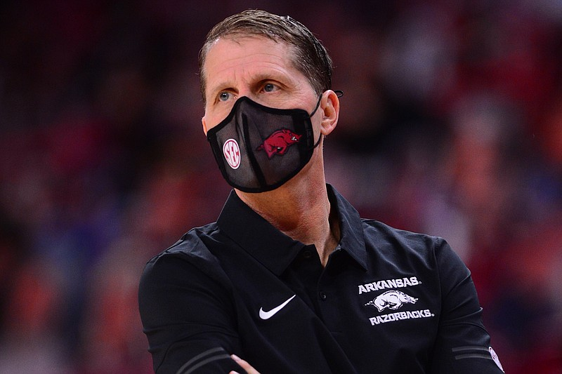 Arkansas head coach Eric Musselman looks on during Arkansas' 83-75 win over LSU in Bud Walton Arena on Saturday, Feb. 27, 2021. Picture courtesy Gunnar Rathbun and Arkansas communications.