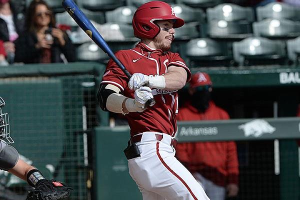 Arkansas designated hitter Matt Goodheart bats during a game against Southeast Missouri State on Saturday, Feb. 27, 2021, in Fayetteville.