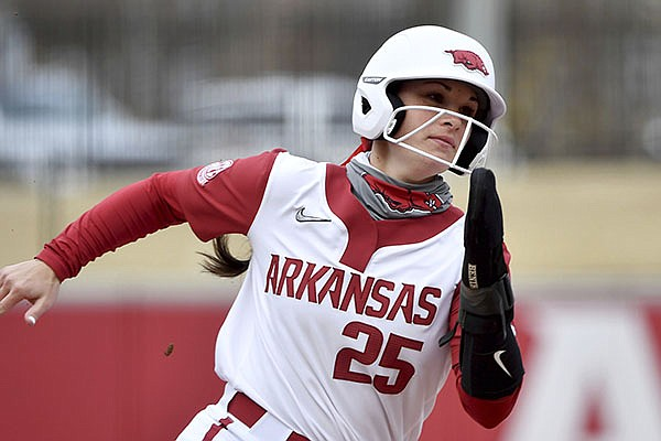 Arkansas base runner Braxton Burnside (25) is shown during a game against North Dakota State on Thursday, Feb. 25, 2021, in Fayetteville. (AP Photo/Michael Woods)