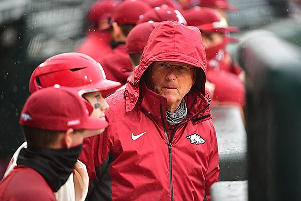 Arkansas coach Dave Van Horn is shown during a game against Southeast Missouri State on Sunday, Feb. 28, 2021, in Fayetteville.
