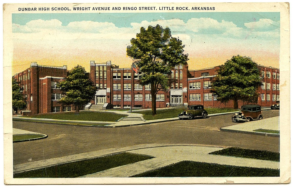 Finished in 1929 at a cost of $400,000, and partially funded by Julius Rosenwald, Dunbar Middle School served Black students exclusively for more than 25 years. It's now a magnet middle school. (Courtesy of Arkansas Postcard Past)