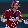 Arkansas third baseman Cullen Smith reacts as he runs the bases following a home run he hit during a game against Murray State on Saturday, March 6, 2021, in Fayetteville.