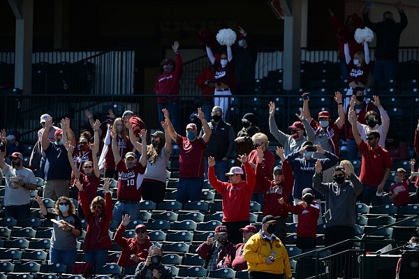 Arkansas Saturday, March 6, 2021, during the inning of the Hogs' 11-6 win over Murray State at Baum-Walker Stadium in Fayetteville. Visit nwaonline.com/210307Daily/ for the photo gallery.