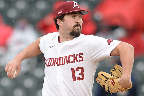 Arkansas reliever Connor Noland delivers to the plate Friday, March 5, 2021, during the fifth inning of the Razorbacks' 7-6 win over Murray State in Baum-Walker Stadium in Fayetteville.