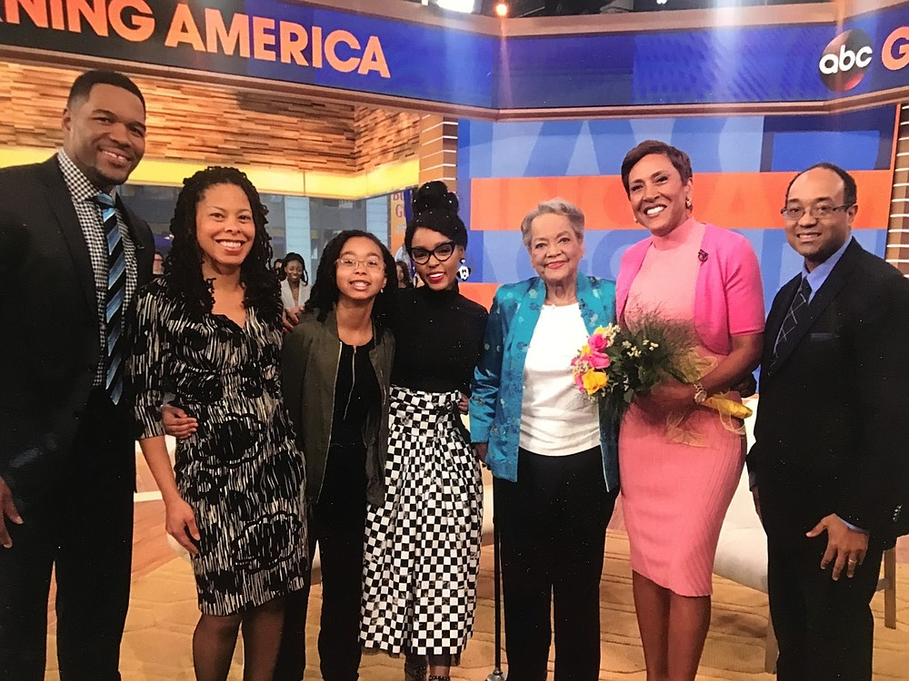 "Raye Montague, third from right, and Dr. David Montague, right, pose with the hosts and guests of ""Good Morning America"" after Raye Montague appeared on the show in 2017. (Contributed)"