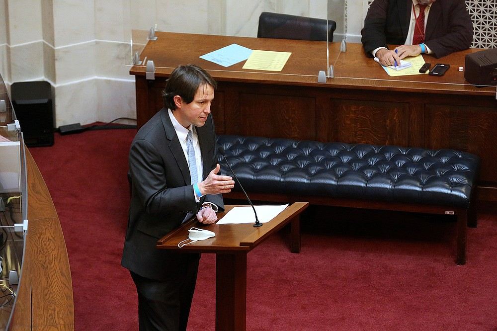"""""""That word sex in the federal civil rights act prohibits discrimination on the basis of sexual orientation or gender identity,"""" Sen. Clarke Tucker, D-Little Rock, said Wednesday in speaking against Senate Bill 354. """"This bill targets kids who we know are having a very hard time in high school and this will only make their lives harder,"""" he said. (Arkansas Democrat-Gazette/Thomas Metthe)"""