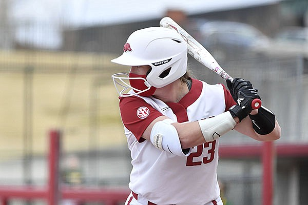 Arkansas batter Hannah McEwen (23) against North Dakota State during an NCAA softball game on Thursday Feb. 25, 2021, in Fayetteville. (AP Photo/Michael Woods)