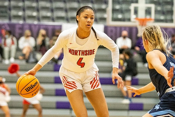 Jersey Wolfenbarger (4) of Northside looks for open player as Ella Nelson (22) of Springdale Har-Ber defends at Bulldog Arena during the Class 6A state tournament at Fayetteville High School on Thursday, March 11, 2021. (Special to NWA Democrat-Gazette/David Beach)