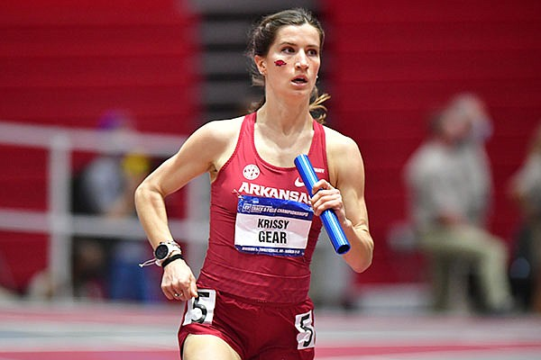 Arkansas' Krissy Gear runs in the distance medley relay during the NCAA Indoor Track and Field Championships on Friday, March 12, 2021, in Fayetteville.