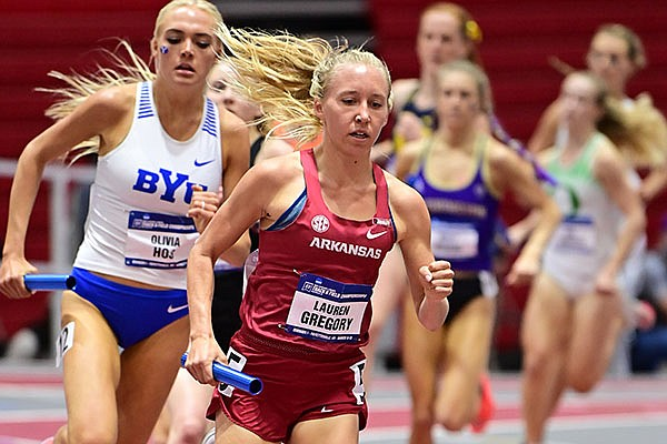 Arkansas' Lauren Gregory runs during the distance medley relay on Day 2 of the NCAA Indoor Track and Field Championships on Friday, March 12, 2021, in Fayetteville.