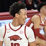 Arkansas forward Jaylin Williams celebrates Wednesday, Feb. 24, 2021, after scoring a basket during the second half of the Razorbacks' 81-66 win over Alabama in Bud Walton Arena. Visit nwaonline.com/210225Daily/ for the photo gallery.