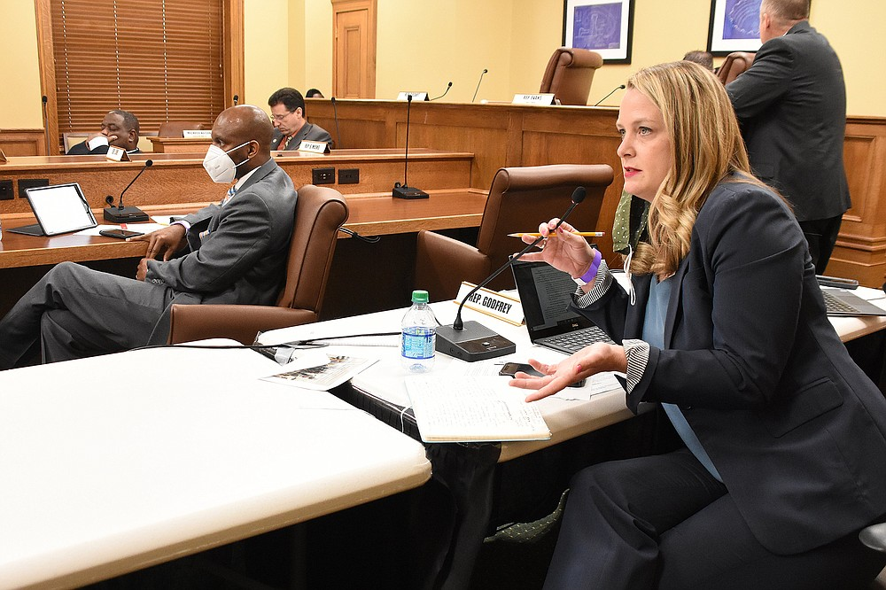 During the House Education Committee meeting Thursday, Rep. Megan Godfrey questioned the need for a blanket ban on transgender girls and women from school sports. (Arkansas Democrat-Gazette/Staci Vandagriff)