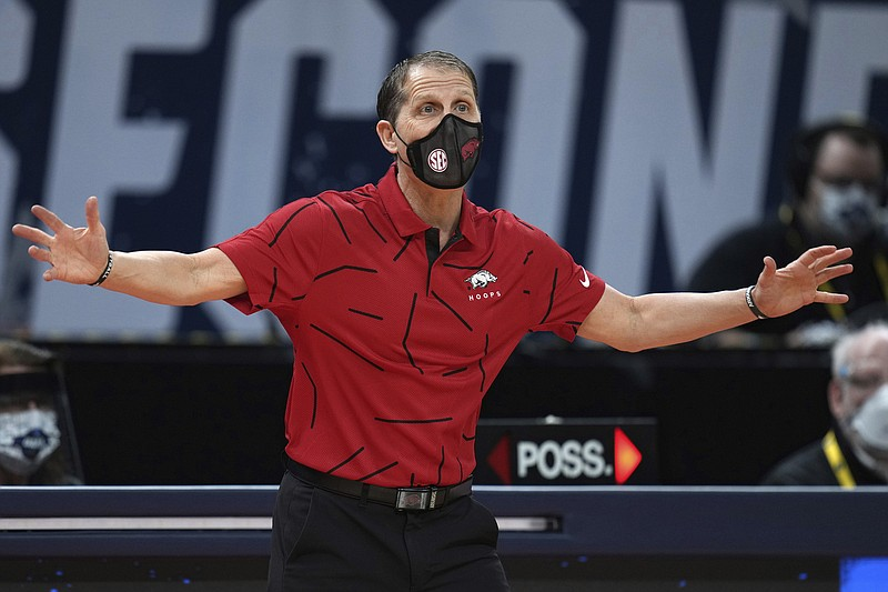 Arkansas head coach Eric Musselman reacts to a play during a first round men's college basketball game against Colgate in the NCAA Tournament, Friday, March 19, 2021, at Bankers Life Fieldhouse in Indianapolis. (Jack Dempsey/Pool Photo via AP)