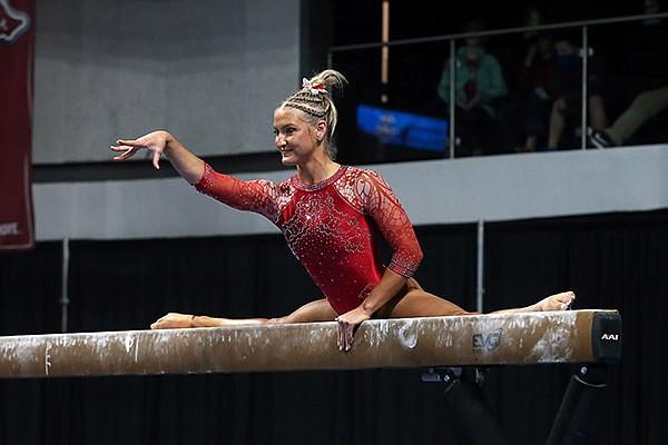 Arkansas' Sarah Shaffer competes during the SEC Gymnastics Championships on Saturday, March 20, 2021, in Huntsville, Ala. (Photo via SEC Pool)