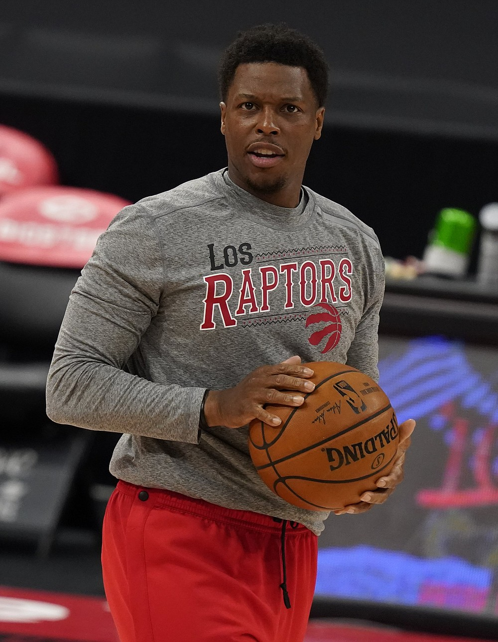 Toronto Raptors guard Kyle Lowry (7) before an NBA basketball game against the Denver Nuggets Wednesday, March 24, 2021, in Tampa, Fla. (AP Photo/Chris O'Meara)