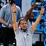 Arkansas coach Eric Musselman reacts during the second half of a Sweet 16 game against Oral Roberts in the NCAA men's college basketball tournament at Bankers Life Fieldhouse, Saturday, March 27, 2021, in Indianapolis. (AP Photo/Jeff Roberson)