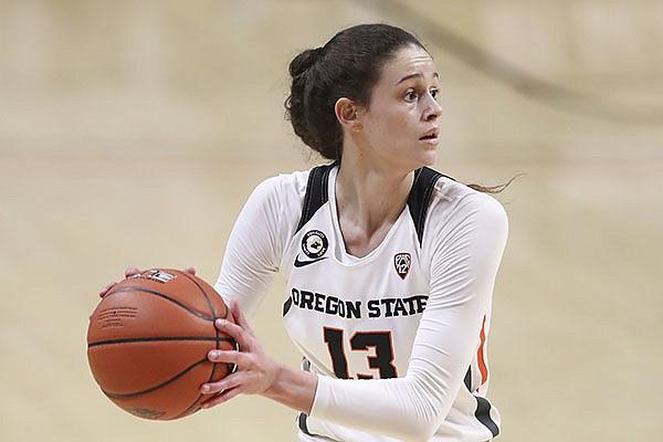 Oregon State's Sasha Goforth (13) plays during an NCAA basketball game against Utah on Tuesday, Dec. 8, 2020, in Corvallis, Ore. (AP Photo/Amanda Loman)