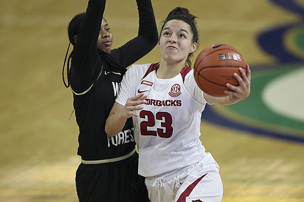 Amber Ramirez #23 of Arkansas in action during an NCAA basketball game on Friday, Nov. 27, 2020 in Fort Myers, Fla. (AP Photo/Mark LoMoglio)