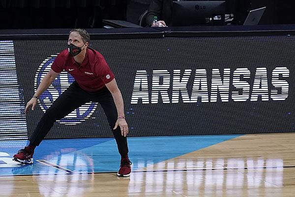 Arkansas head coach Eric Musselman watches from the sideline during the second half of an Elite 8 game against Baylor in the NCAA men's college basketball tournament at Lucas Oil Stadium, Monday, March 29, 2021, in Indianapolis. (AP Photo/Michael Conroy)
