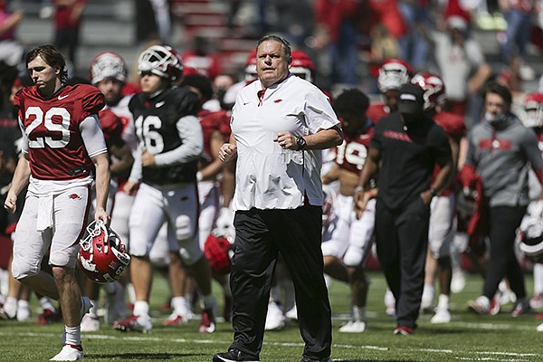 Arkansas football coach Sam Pittman is shown during a scrimmage Saturday, March 20, 2021, in Fayetteville.