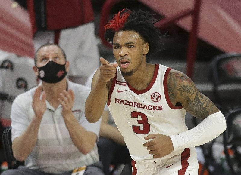 Guard Desi Sills, who has played in every Arkansas game the past three seasons, announced on social media Wednesday that he is leaving the program via the transfer portal. He will have two years of eligibility remaining. (NWA Democrat-Gazette/Charlie Kaijo)