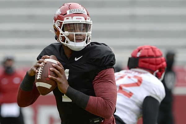 Arkansas quarterback KJ Jefferson looks to pass Saturday, April 3, 2021, during a scrimmage at Razorback Stadium in Fayetteville. Visit nwaonline.com/210404Daily/ for this photo gallery.