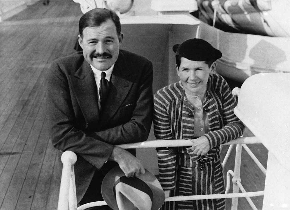 """Ernest Hemingway and his wife, Pauline Pfeiffer, arrive in New York aboard the ocean liner Paris on April 3, 1934, after a three-month vacation in eastern Africa hunting lions. Pauline's uncle, Gus Pfeiffer, paid for the safari, which inspired the book """"Green Hills of Africa"""" and several short stories, including """"The Snows of Kilimanjaro."""" (AP file photo)"""