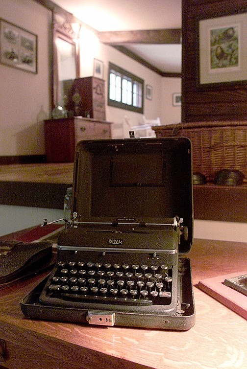 A 1930s-era typewriter sits on the desk used by Ernest Hemingway in a converted barn in Piggott. A fire in the now-restored barn in December 1932 destroyed some of Hemingway's guns, clothes, books and manuscripts. (AP file photo)