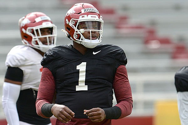 Arkansas quarterback KJ Jefferson is shown during a scrimmage Saturday, April 3, 2021, in Fayetteville.