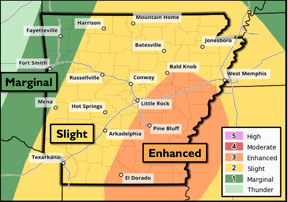 This National Weather Service graphic shows much of the state is at risk for severe weather. Wednesday.