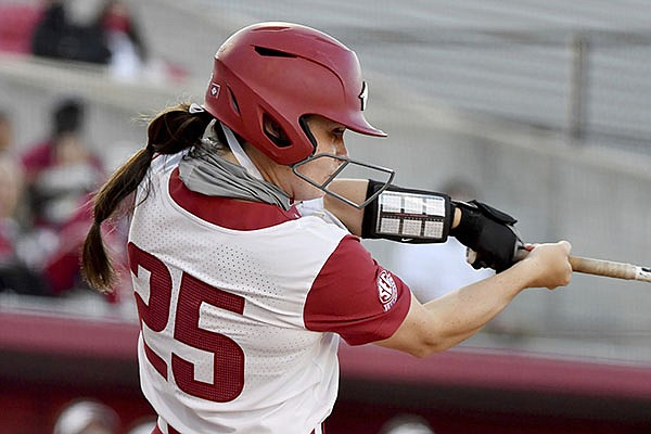 Arkansas batter Braxton Burnside (25) against Mississippi State during an NCAA softball game on Friday, March 26, 2021, in Fayetteville. (AP Photo/Michael Woods)