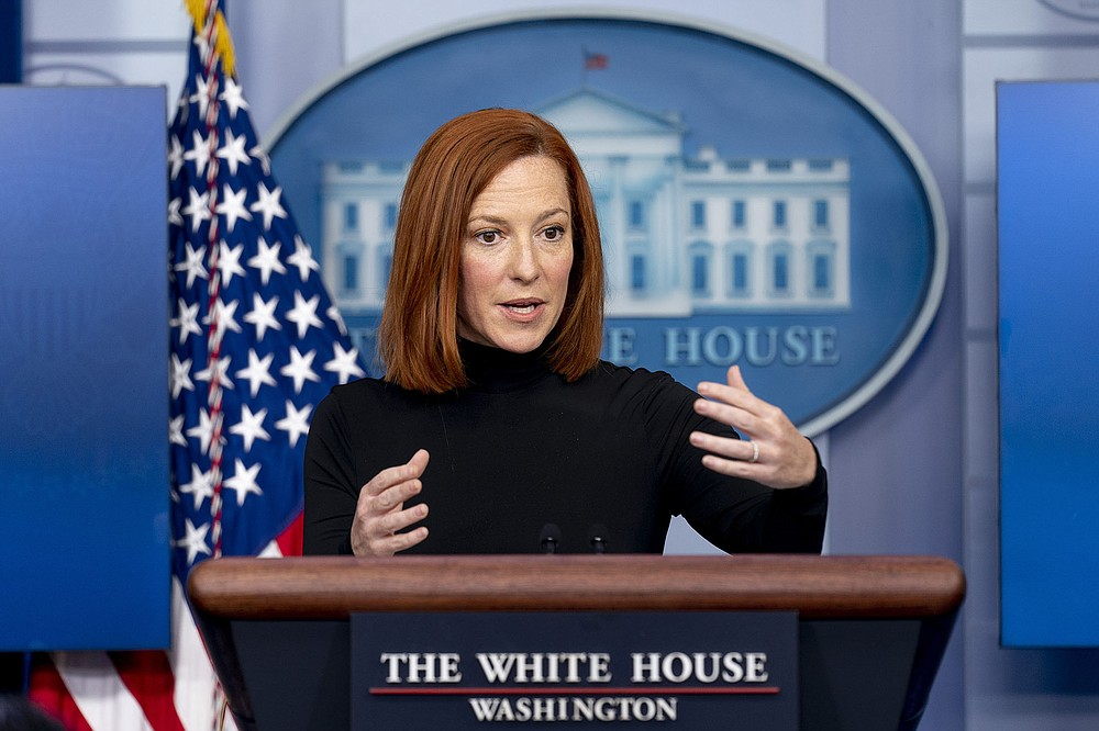 """White House press secretary Jen Psaki said Friday that the Biden administration was """"inheriting a legacy of chronic underinvestment"""" because of spending caps adopted by Congress in 2011. (AP/Andrew Harnik)"""