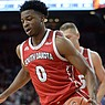 South Dakota's Stanley Umude is shown during a game against Arkansas on Friday, Nov. 22, 2019, in Fayetteville.