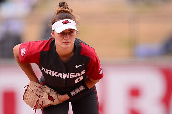 Arkansas pitcher Autumn Storms is shown during a game against Alabama on Saturday, April 10, 2021, in Fayetteville.