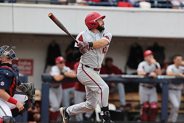 Arkansas catcher Casey Opitz bats during a game against Ole Miss on Saturday, April 10, 2021, in Oxford, Miss. (Photo courtesy Ole Miss Athletics, via SEC pool)