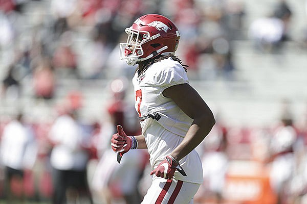 Arkansas receiver Trey Knox is shown during a scrimmage Saturday, March 20, 2021, in Fayetteville.