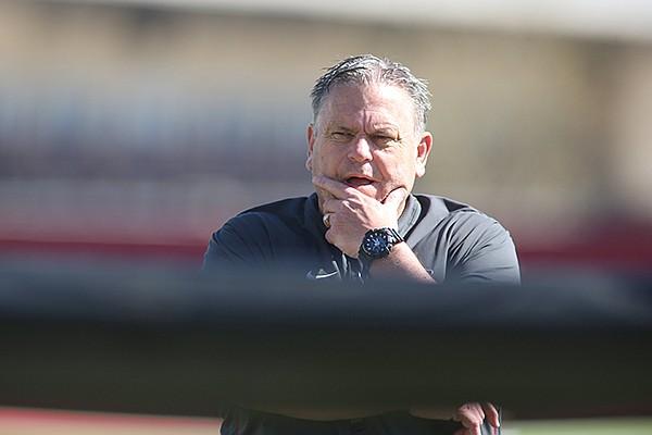 Arkansas football coach Sam Pittman is shown during practice Thursday, April 1, 2021, in Fayetteville.