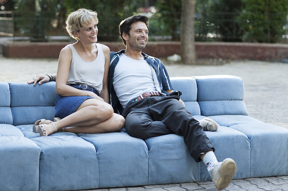 """Friday, I'm in love: American ex-pats Chloe (Denise Gough) and Mickey (Sebastian Stan) meet at a disco-thumping house party on a Greek island and stick together for a year in """"Monday."""""""
