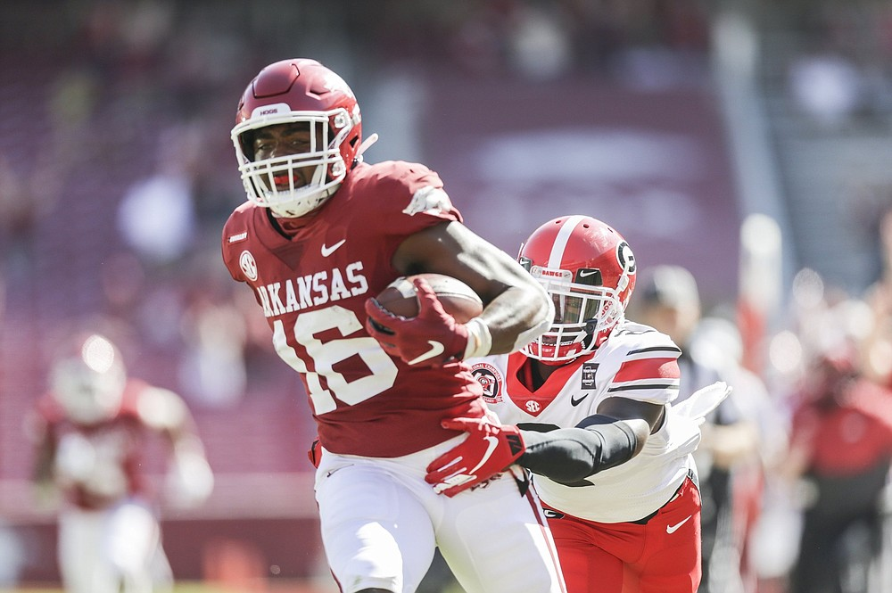 Wide receiver Treylon Burks will be part of the first-team offense in today's Red-White Game. (NWA Democrat-Gazette/Charlie Kaijo)