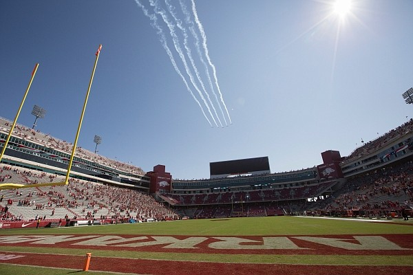 The Hog Formation flight team performs a fly over, Saturday, September 26, 2020 before a football game at Donald W. Reynolds Razorback Stadium in Fayetteville. Check out nwaonline.com/200927Daily/ for today's photo gallery.
