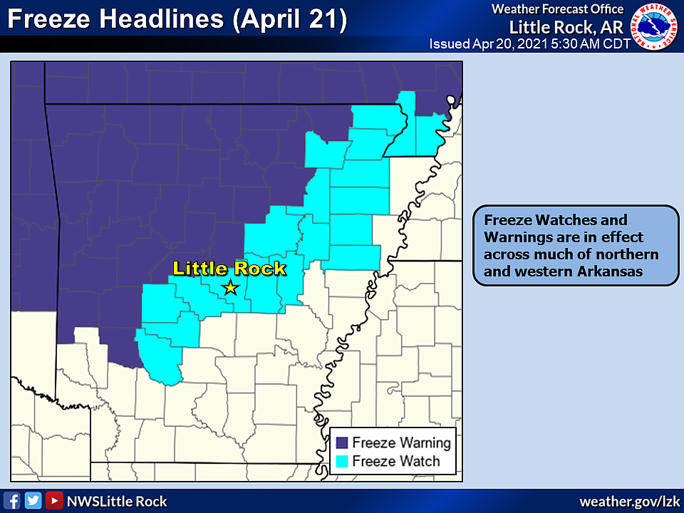 This National Weather Service graphic shows much of the northwest half of Arkansas will be under a freeze warning or watch overnight Tuesday.