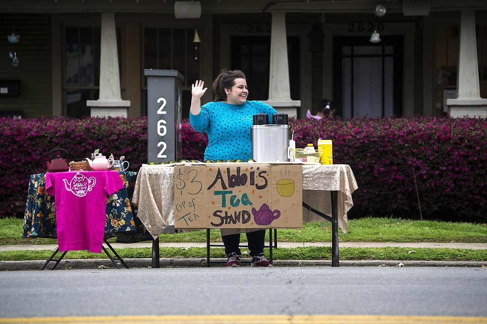 Owner Abbi Siler intends to keep doing her outdoor tea stand, inaugurated in March 2020 at the start of the pandemic, once she reopens the interior of Abbi's Teas & Things, 2622 Kavanaugh Blvd., Little Rock, May 12. 